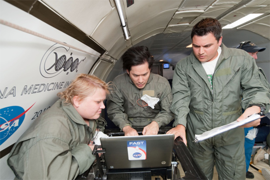 The team tested a range of experiments including sample loading, microfluidic mixing, and detection on the aircraft under reduced gravity conditions. The technology was controlled by a laptop computer and custom software.
