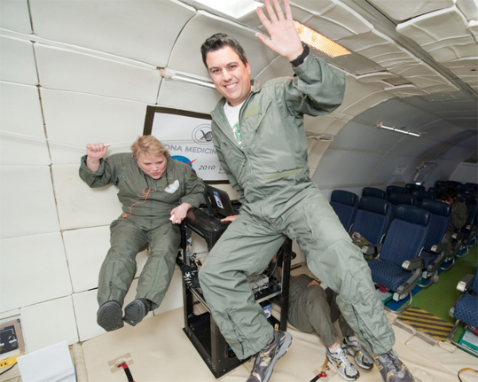 GRC team members in zero gravity.